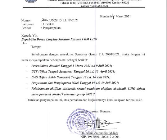 PERKULIAHAN SEMESTER GENAP T.A. 2020/2021
